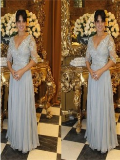 A-Line/Princess V-neck 1/2 Sleeves Applique Floor-Length Chiffon Mother Of The Bride Dresses