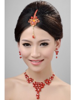 Nice Pearls Alloy Crystals Wedding Headpieces Necklaces Earrings Set