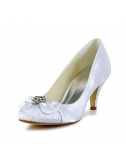 Nice Satin Cone Heel Closed Toe Pumps Wedding Shoes With Bowknot Rhinestone