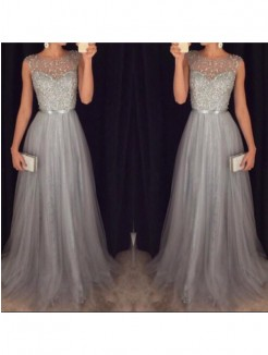 A-Line/Princess Scoop Sleeveless Tulle Beading Sweep/Brush Train Dresses