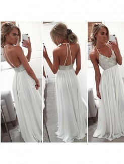 A-Line/Princess Halter Sleeveless Chiffon Beading Sweep/Brush Train Dresses