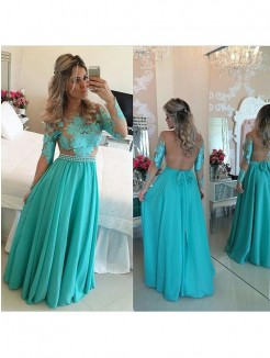A-Line/Princess Long Sleeves Scoop Chiffon Floor-Length Applique Dresses
