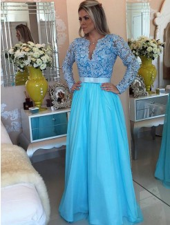 A-Line/Princess Long Sleeves V-neck Tulle Applique Floor-Length Dresses