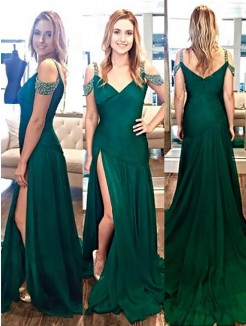 A-Line/Princess Halter Sleeveless Sweep/Brush Train Beading Satin Dresses