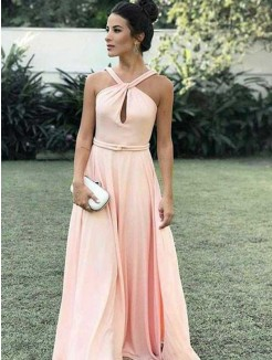 A-Line/Princess Halter Sleeveless Floor-Length Ruched Chiffon Dresses