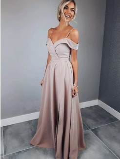A-Line/Princess Spaghetti Straps Short Sleeves Floor-Length Ruched Satin Dresses