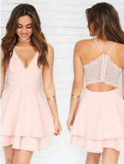A-Line/Princess Chiffon V-neck Sleeveless Pleats Short/Mini Dresses