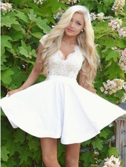 A-Line/Princess Lace V-neck Satin Short Sleeves Short/Mini Dresses