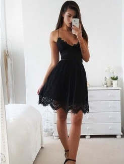A-Line/Princess Lace Spaghetti Sleeveless Straps Short/Mini Dresses