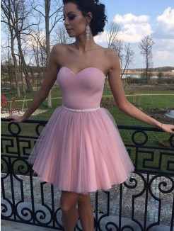 A-Line/Princess Tulle Sweetheart Pleats Sleeveless Short/Mini Dresses