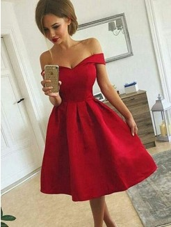 A-Line/Princess Off-the-Shoulder Satin Sleeveless Ruched Knee-length Dresses