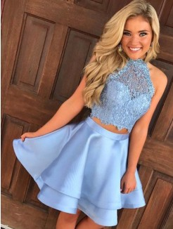 A-Line/Princess Satin Sleeveless Lace Halter Short/Mini Two Piece Dresses