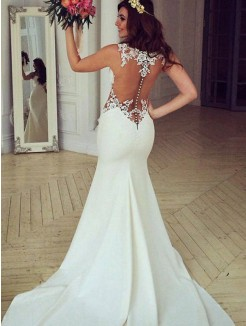 Trumpet/Mermaid  Sweep/Brush Train Scoop Applique Sleeveless Lace Wedding Dresses