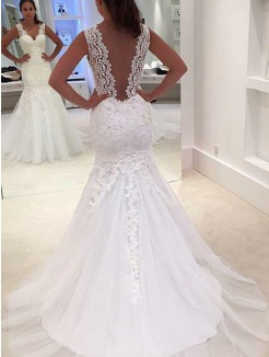 Trumpet/Mermaid Sleeveless V-neck Court Train Applique Lace Wedding Dresses