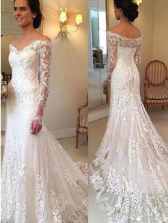 Trumpet/Mermaid Court Train Long Sleeves Off-the-Shoulder Applique Lace Wedding Dresses