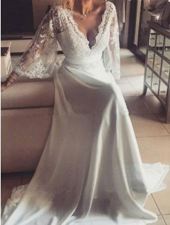 A-Line/Princess Long Sleeves V-neck Long Sleeves Sash/Ribbon/Belt Court Train Lace Wedding Dresses