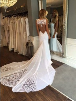 Trumpet/Mermaid Applique Cathedral Train Sweetheart Lace Sleeveless Wedding Dresses