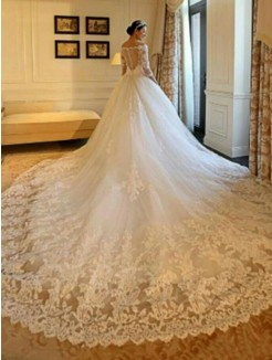 Ball Gown Off-the-Shoulder Cathedral Train 3/4 Sleeves Beading Applique Tulle Wedding Dresses