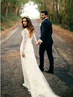 Sheath/Column Long Sleeves Lace V-neck Court Train Applique Wedding Dresses