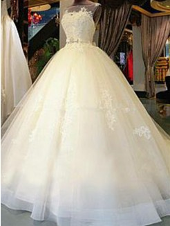 Ball Gown Cathedral Train Scoop Sleeveless Sash/Ribbon/Belt Applique Tulle Wedding Dresses