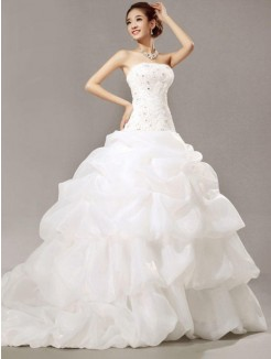 Ball Gown Strapless Cathedral Train Beading Sleeveless Lace Pleats Organza Wedding Dresses