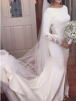 Trumpet/Mermaid Long Sleeves Court Train Lace Scoop Satin Wedding Dresses