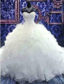 Ball Gown Beading Sleeveless Sweetheart Chapel Train Sequin Organza Wedding Dresses