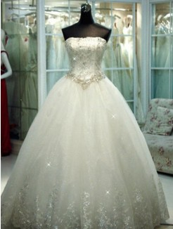 Ball Gown Beading Strapless Tulle Floor-Length Sleeveless Wedding Dresses