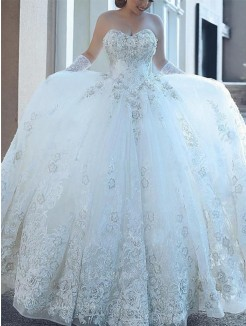 Sweetheart Applique Tulle Ball Gown Sleeveless Cathedral Train Wedding Dresses