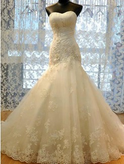 Trumpet/Mermaid Sweetheart Tulle Sleeveless Applique Court Train Wedding Dresses