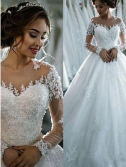 Ball Gown Applique Tulle Scoop Chapel Train Long Sleeves Wedding Dresses