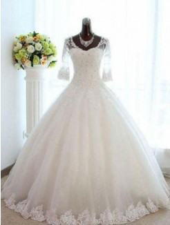 Ball Gown Beading Tulle Floor-Length 3/4 Sleeves V-neck Bateau Wedding Dresses
