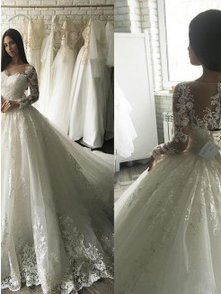 Ball Gown Tulle Scoop Applique Long Sleeves Court Train Wedding Dresses