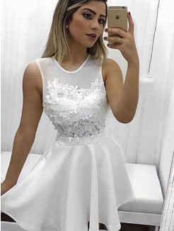 A-Line/Princess Sleeveless Scoop Satin Applique Short/Mini Dress