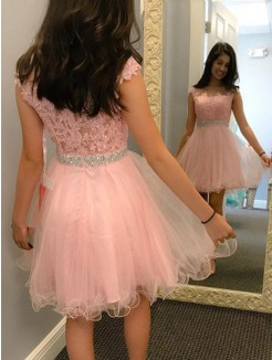 A-Line/Princess Sleeveless Tulle Beading Applique Short/Mini Dress