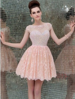 A-Line/Princess Sleeveless Scoop Lace Beading Short/Mini Dress