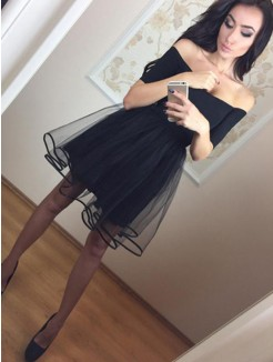 A-Line/Princess 1/2 Sleeves Tulle Short/Mini Dress