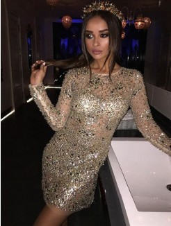 Sheath/Column Long Sleeves Scoop Sequin Beading Short/Mini Dress