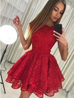 A-Line/Princess Sleeveless Scoop Lace Short/Mini Dress