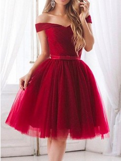 A-Line/Princess Tulle Ruffles Sleeveless Knee-Length Dress