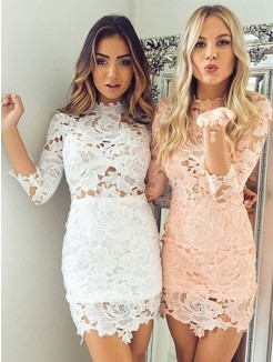 Sheath/Column Lace Applique High Neck 3/4 Sleeves Short/Mini Dress