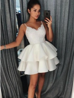 A-Line Satin With Ruffles Spaghetti Straps Sleeveless Short/Mini Dress