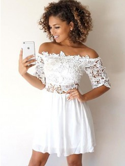 A-Line Chiffon With Applique 1/2 Sleeves Short/Mini Dress