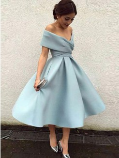 A-Line/Princess Sleeveless Satin Ruffles Tea-Length Dress