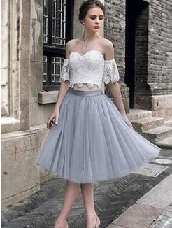 A-Line/Princess Lace Tulle Sleeveless Tea-Length Two Piece Dress