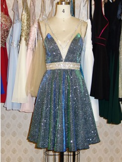 A-Line/Princess V-neck Sequins Beading Sleeveless Short/Mini Dress