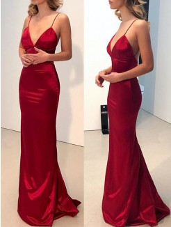 Sheath/Column Sweep/Brush Train Spaghetti Straps V-neck Satin Dresses