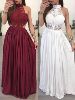 A-Line/Princess Floor-Length Sleeveless Chiffon Lace Dresses