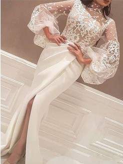 Trumpet/Mermaid Long Sleeves High Neck Sweep/Brush Train Lace Satin Dresses