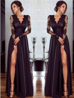 A-Line/Princess V-neck Long Sleeves Floor-Length Lace Chiffon Applique Dresses